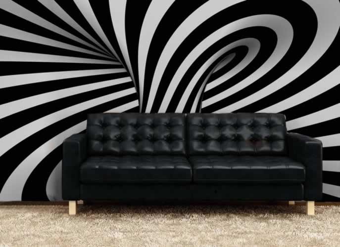 Fototapeta abstrakcyjna w czerni i bieli z motywem pętli