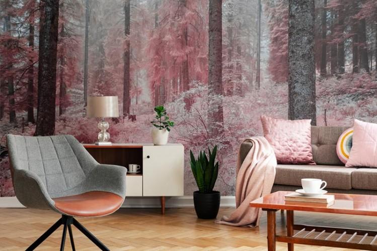 Fototapeta z lasem w modnych odcieniach rózu