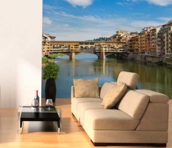 Fototapeta z motywem mostu Ponte Vecchio na rzece Arno we Florencji