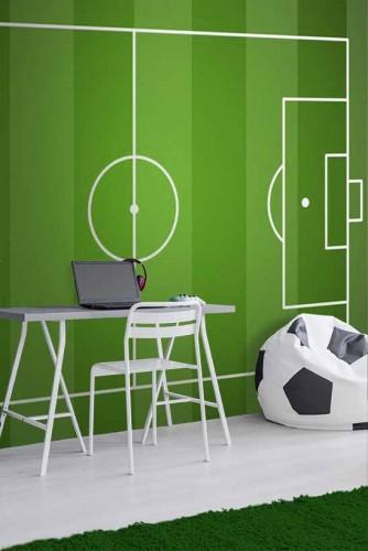 Fototapeta do pokoju młodzieżowego z boiskiem do piłki nożnej