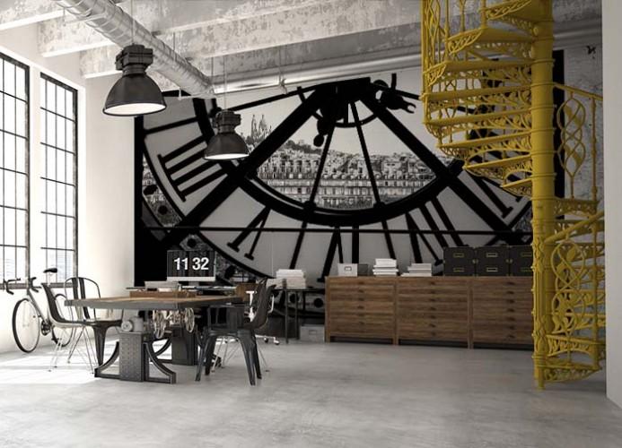Fototapeta z zegarem w stylu industrialnym