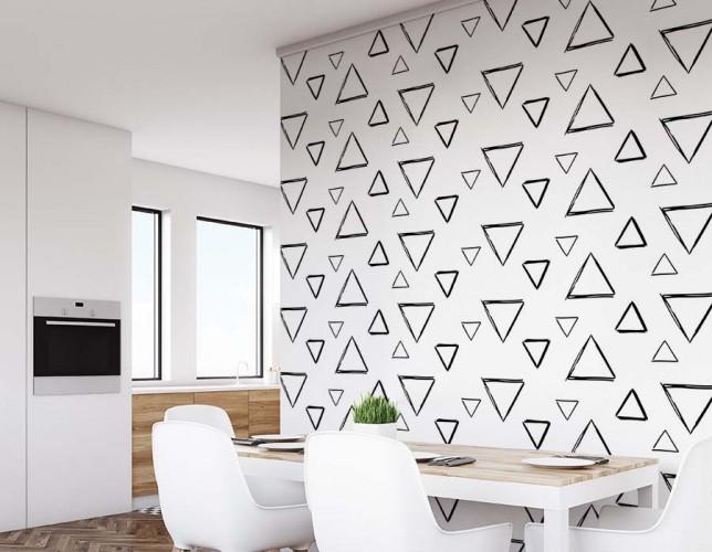 Fototapeta minimalistyczna z trójkątami do jadalni