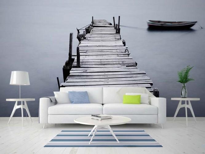 Fototapeta do salonu w stylu minimalistycznym - spokojne jezioro, molo, łódka