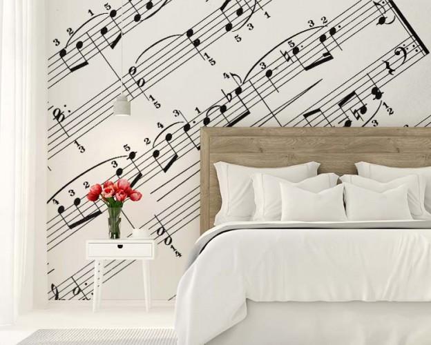 Romantyczna fototapeta z nutami do sypialni.