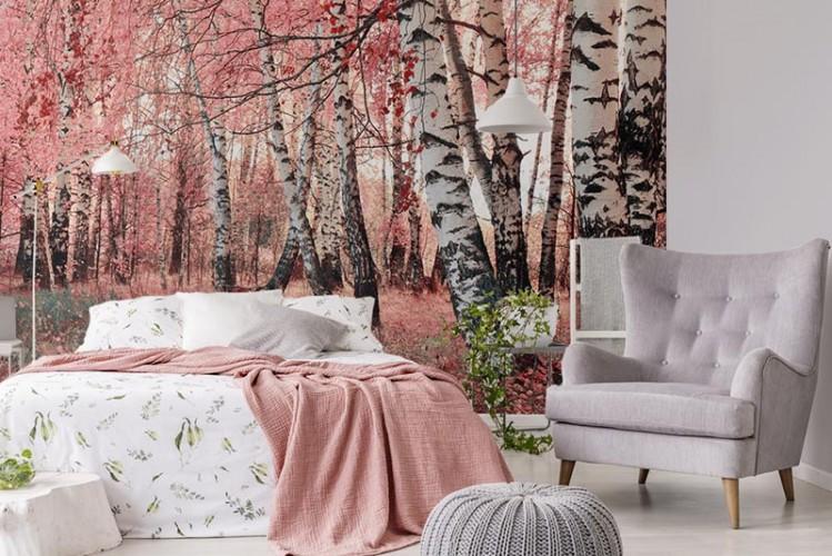 Fototapeta z różowym lasem brzozowym, do sypialni