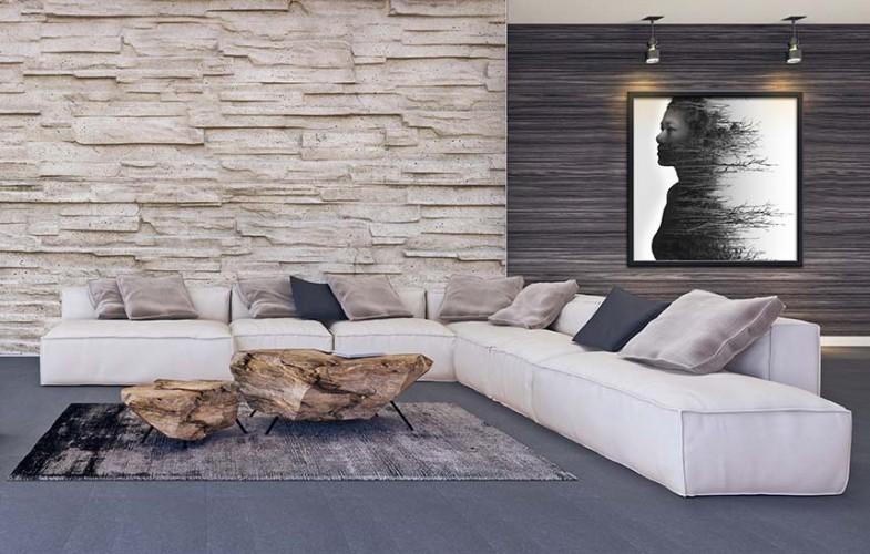 Fototapeta z jasnymi cegłami do pomieszczenia w stylu współczesnym