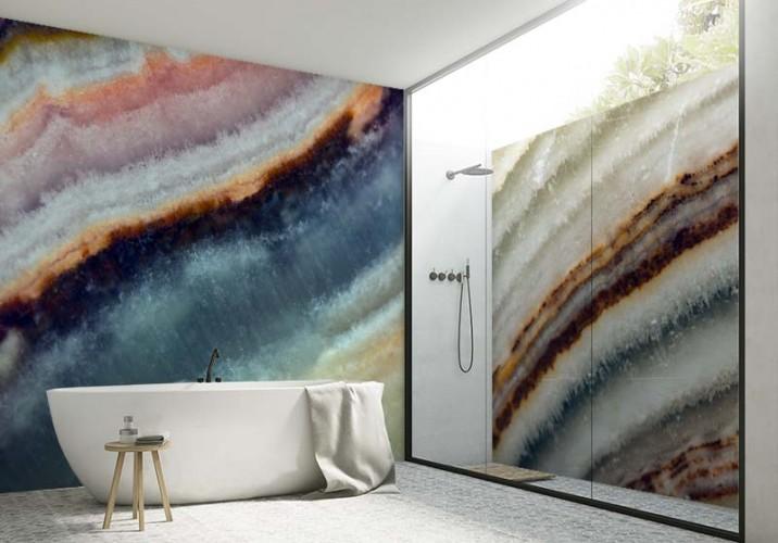 Fototapeta do łazienki z motywem naturalnego kamienia mineralnego