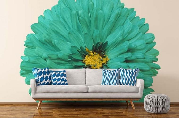 Fototapeta z turkusowym kwiatem