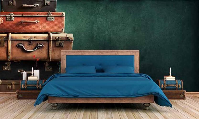 Fototapeta z walizkami w stylu vintage