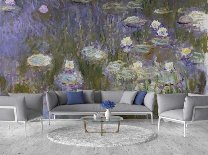 Fototapeta do salonu - nenufary, lilie wodne, reprodukcja obrazu Claude Moneta
