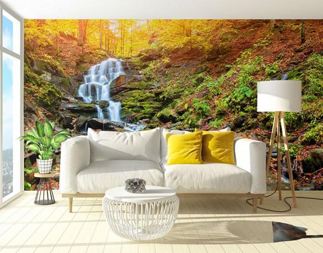 Fototapeta do salonu z wodospadem w jesiennym lesie