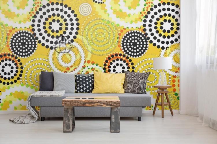 Fototapeta z geometrycznym wzorze w kolorze miodowyo-żółtym