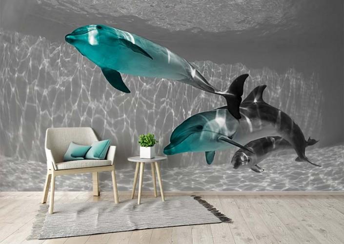 Fototapeta czarno-biała z delfinami w kolorze turkusu