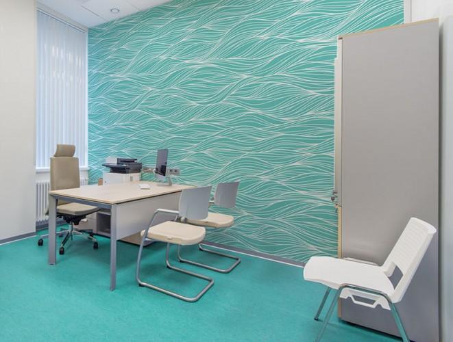 Fototapeta z niebieską falą do gabinetu lekarskiego