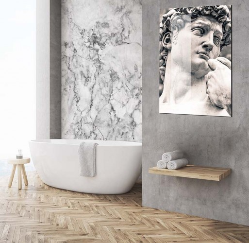 Fototapeta do łazienki ze wzorem białego marmuru