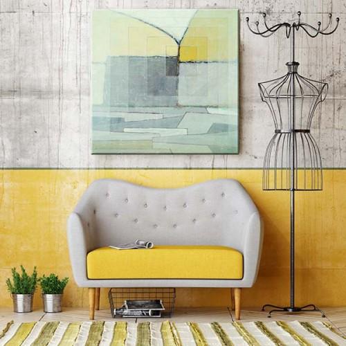 Obraz na płótnie z abstrakcją w szarościach i żółciach