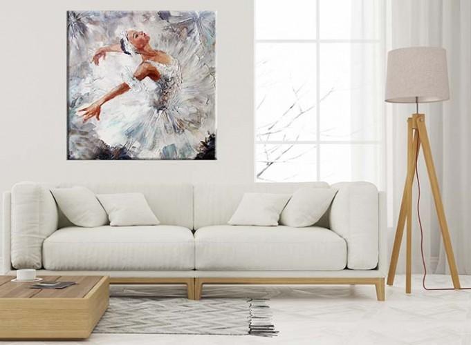 Obraz na płótnie w odcieniach szarości i bieli z baletnicą