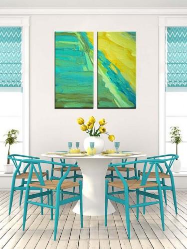 Obraz abstrakcyjny w kolorze turkusu i żółci
