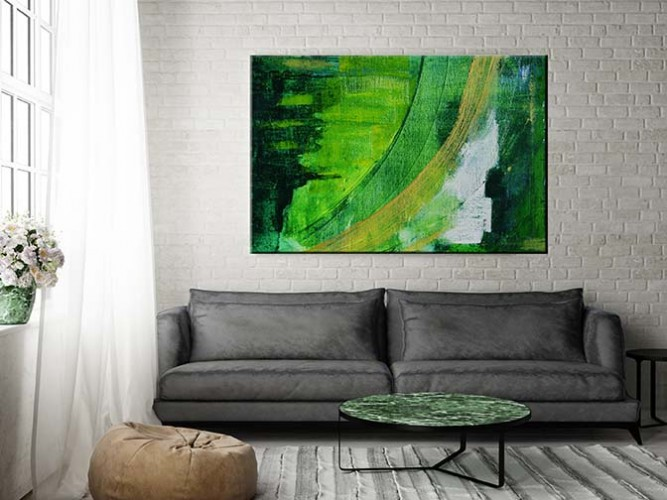Obraz na płótnie - abstrakcja jak farbą malowana w kolorze zieleni