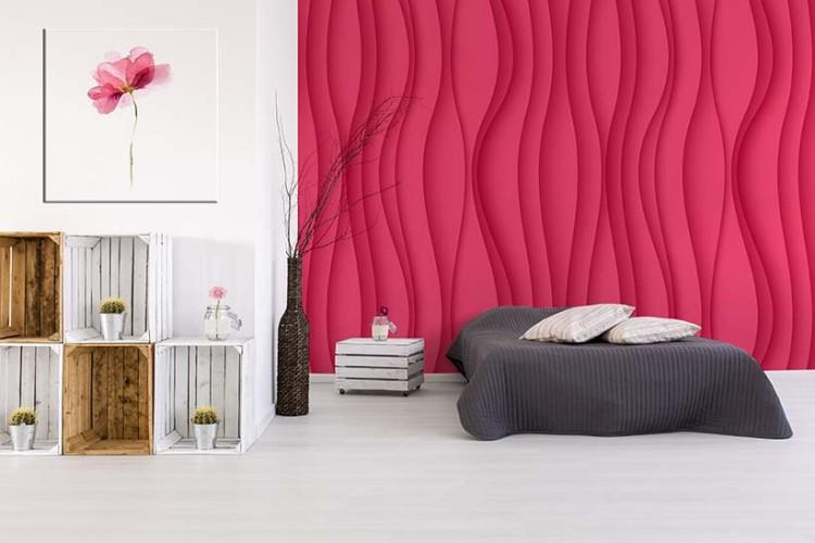 Fototapeta ze wzorem fali w kolorze różowym - propozycja wystroju na wiosnę
