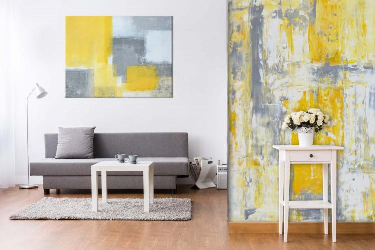 Fototapeta ze wzorem struktury ściany - żółcie i szarości