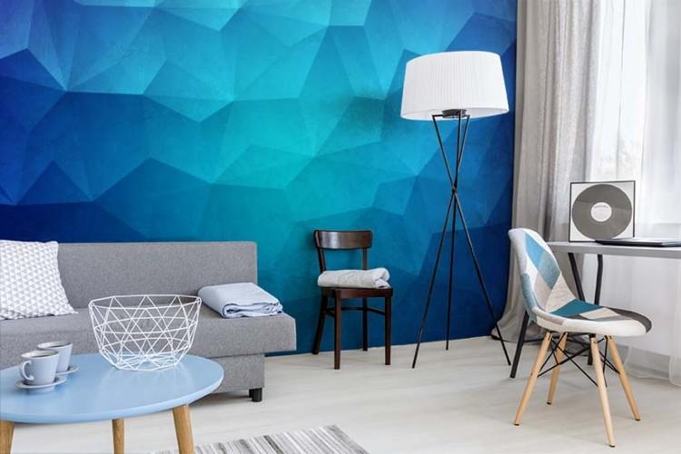 Fototapeta z przestrzennym wzorem w kolorze niebieskim