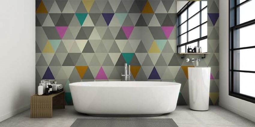 Fototapeta do łazienki - geometryczny wzór w odcieniach szarości z dodatkiem turkusu, różu i żółci