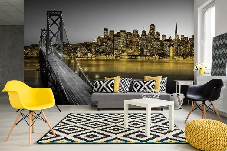 Fototapeta z mostem na Manhattanie w czerni-bieli z żółtym akcentem