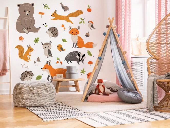 Naklejki na ścianę dla dzieci - Leśne zwierzątka