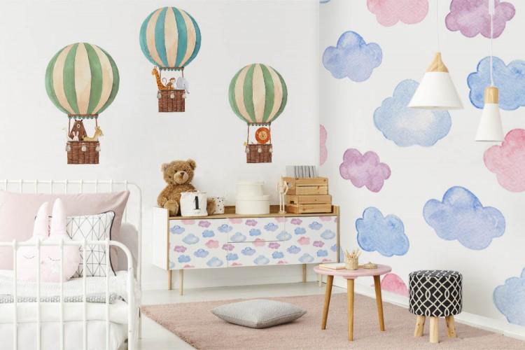 Naklejki na ścianę dla dzieci - Balon z lwem