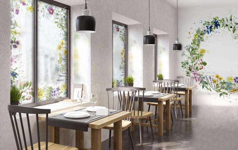 Naklejka na okno do restauracji - Ramka z kwiatów