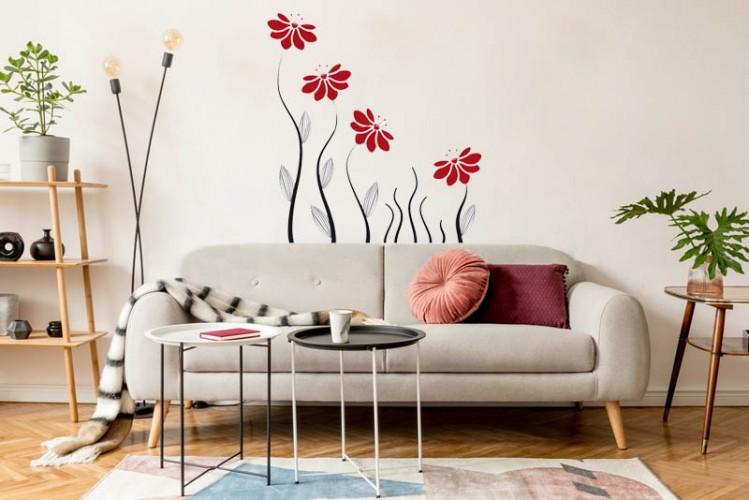 Naklejka na ścianę do salonu - Czerwone kwiatki