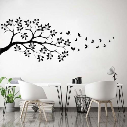 Naklejka na ścianę - Drzewo i motyle