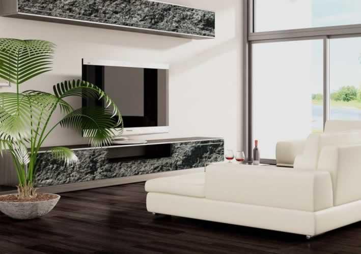 Naklejka na meble w salonie z motywem kamienia
