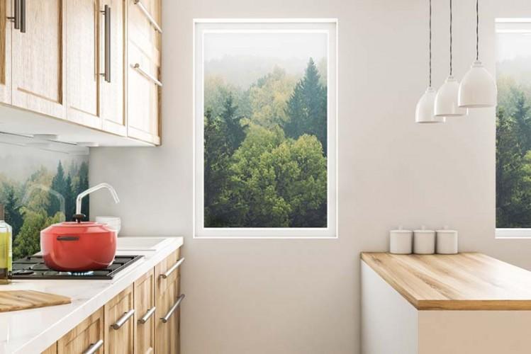 Naklejka na okno - krajobraz, mglisty las