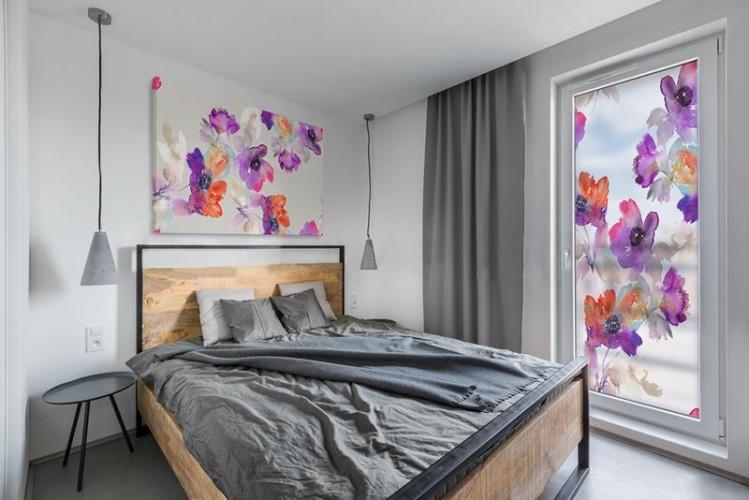 Naklejka witrażowa do sypialni - Akwarelowe kwiaty