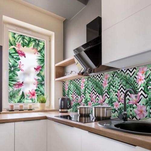 Naklejka na okno w kuchni - Liście egzotyczne