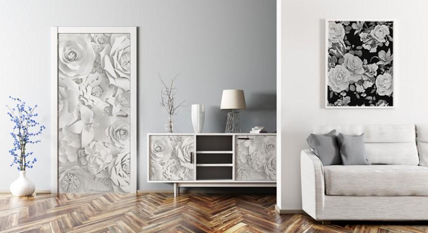 Naklejka na drzwi - Kwiaty z papieru 3d