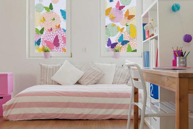 Naklejka witrażowa z motylami do pokoju nastolatki