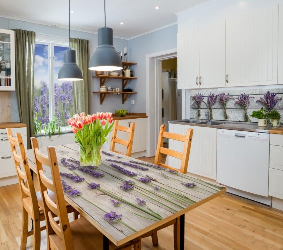 Naklejka na stół do kuchni - Kwiaty lawendy