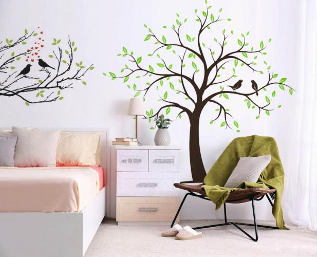 Naklejka wycinana - Drzewo i ptaki