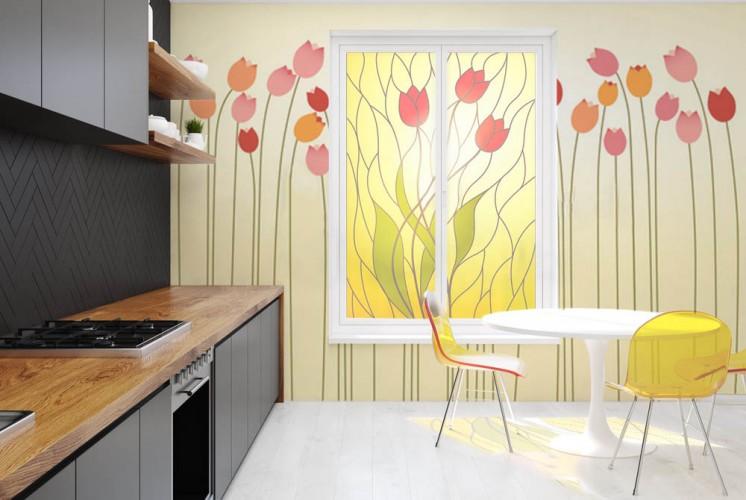 Naklejka witrażowa na okno do jadalni - Tulipany