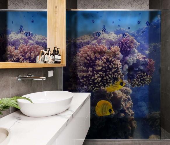 Naklejka na kabinę prysznicową - Rafa koralowa z żółtymi rybkami