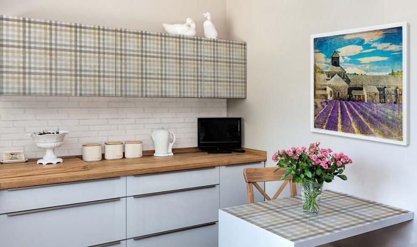 Naklejki na meble do kuchni w stylu prowansalskim - Wzór kratka
