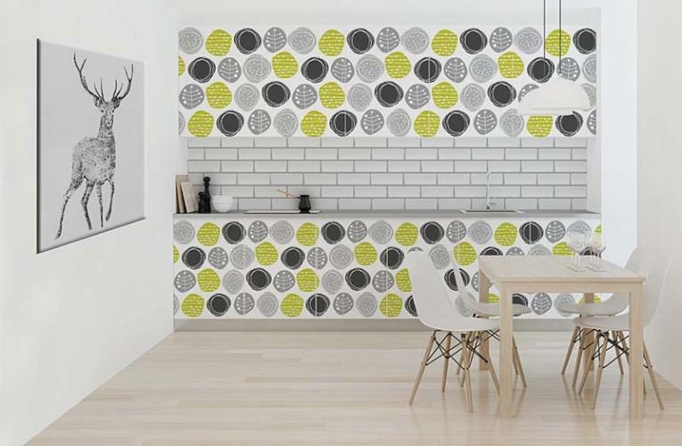 Naklejka w stylu skandynawskim do kuchni, zielono - szary wzór roślinny