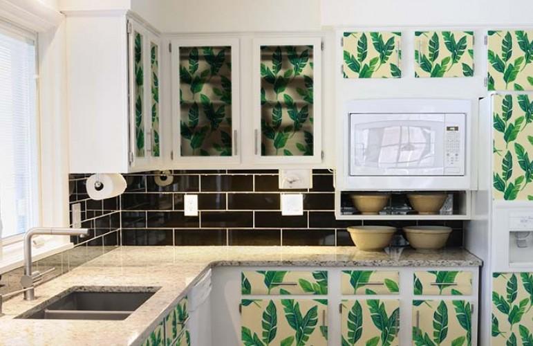 Naklejki z zielonymi liśćmi na szafki kuchenne