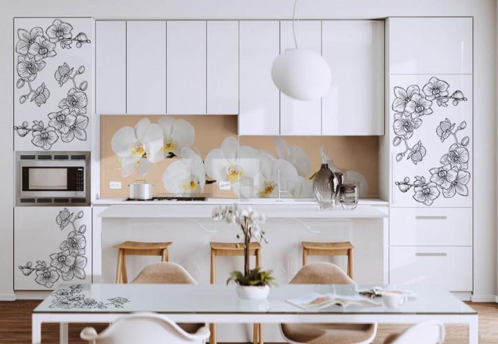 Naklejka na szafki kuchenne, wycinana po obrysie - Orchidea