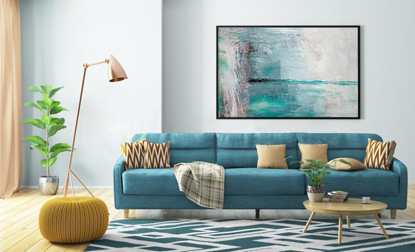 Obraz na płótnie - Biało-niebieska abstrakcja