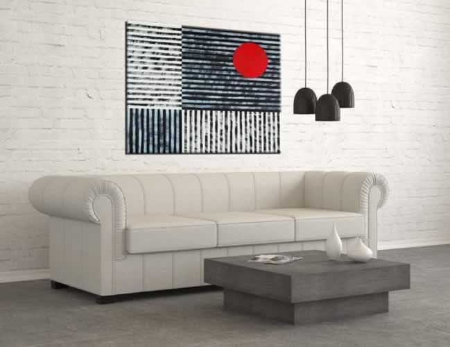 Obraz na płótnie: czarno-biała abstrakcja z czerwonym akcentem