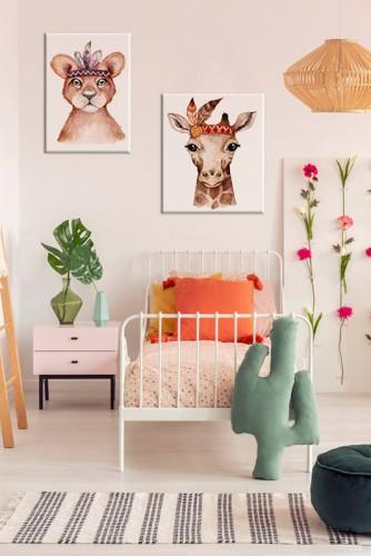 Obraz z żyrafą w stylu boho do pokoju dziewczynki